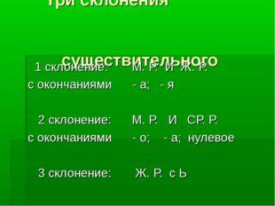Три склонения существительного 1 склонение: М. Р. И Ж. Р. с окончаниями - а;