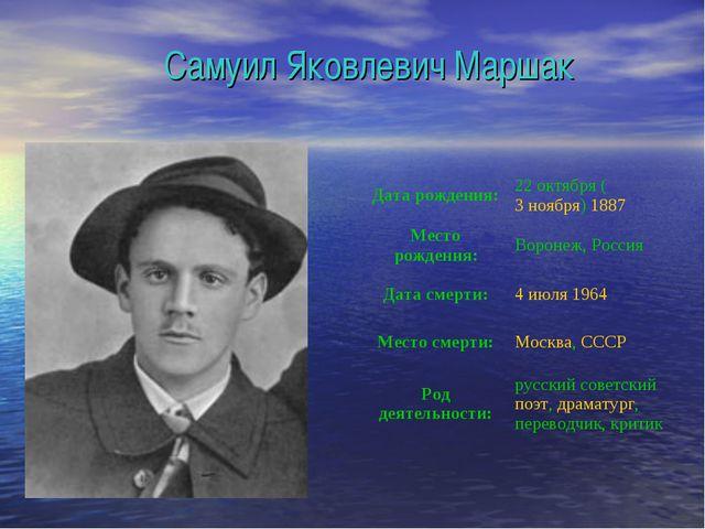 Самуил Яковлевич Маршак Дата рождения:22октября (3 ноября) 1887 Место рожде...
