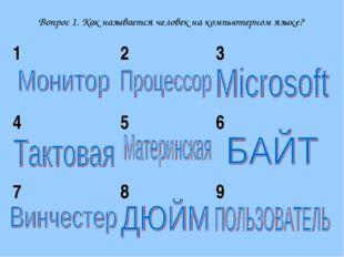 Вопрос 1. Как называется человек на компьютерном языке? 123 456 789
