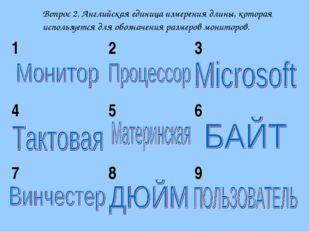 Вопрос 2. Английская единица измерения длины, которая используется для обозна