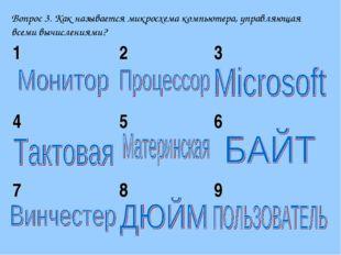 Вопрос 3. Как называется микросхема компьютера, управляющая всеми вычислениям