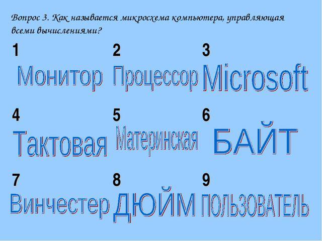 Вопрос 3. Как называется микросхема компьютера, управляющая всеми вычислениям...