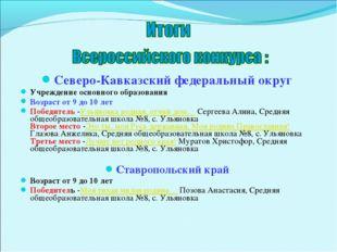 Северо-Кавказский федеральный округ Учреждение основного образования Возраст