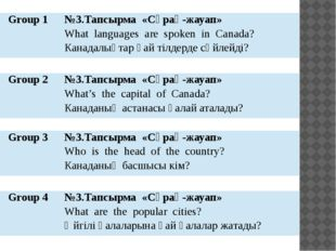 Group1 №3.Тапсырма «Cұрақ-жауап» What languages are spoken in Canada? Канадал