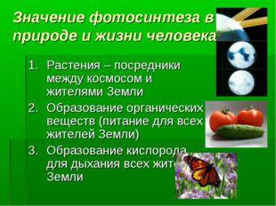 Значение фотосинтеза в природе и жизни человека Растения – посредники между к
