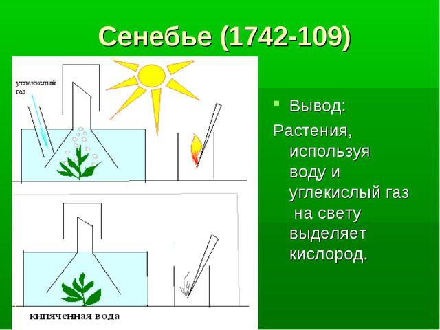Сенебье (1742-109) Вывод: Растения, используя воду и углекислый газ на свету...