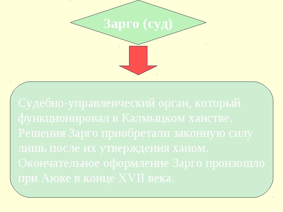 Зарго (суд) Судебно-управленческий орган, который функционировал в Калмыцком...