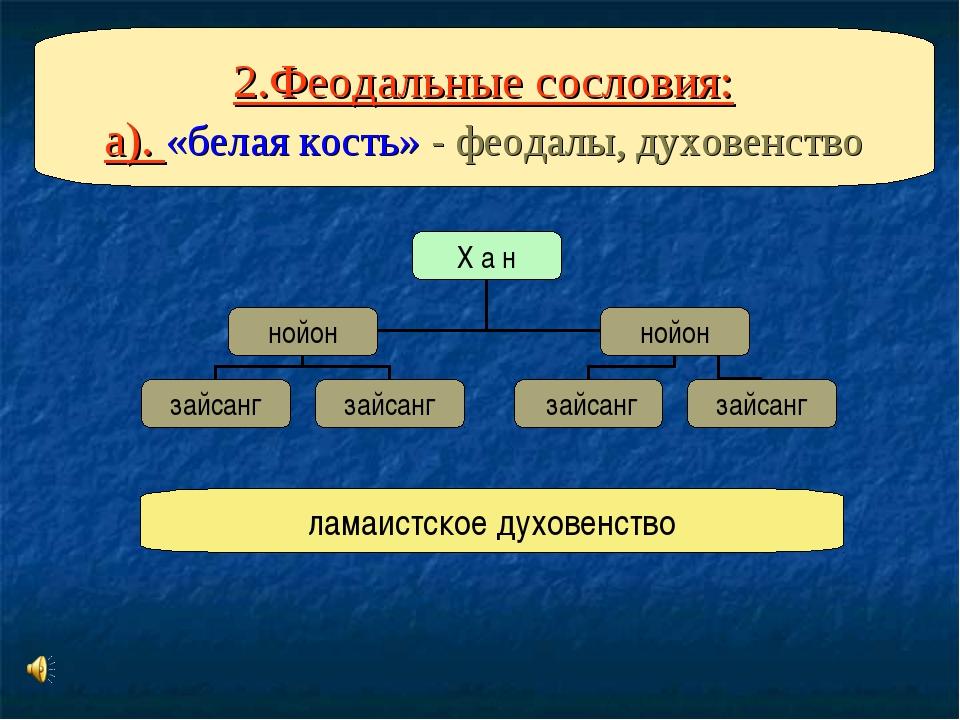 2.Феодальные сословия: а). «белая кость» - феодалы, духовенство ламаистское...