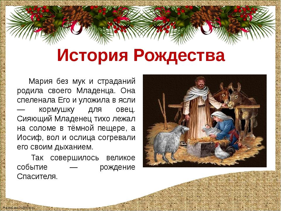 История Рождества Мария без мук и страданий родила своего Младенца. Она спеле...