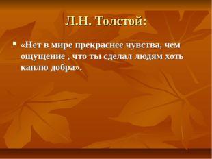 Л.Н. Толстой: «Нет в мире прекраснее чувства, чем ощущение , что ты сделал лю