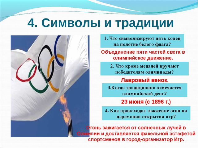 4. Символы и традиции 1. Что символизируют пять колец на полотне белого флага...