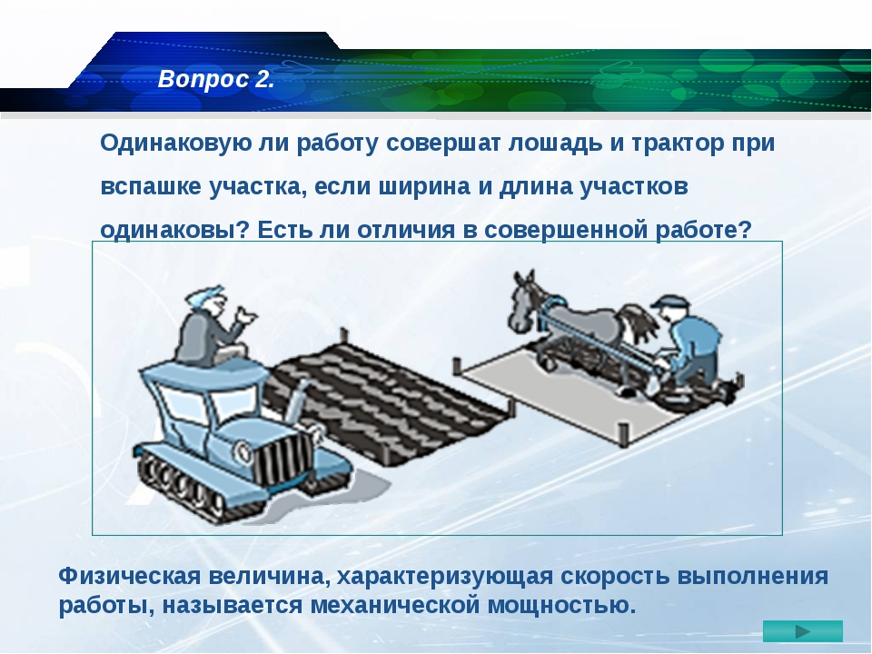 Одинаковую ли работу совершат лошадь и трактор при вспашке участка, если шири...