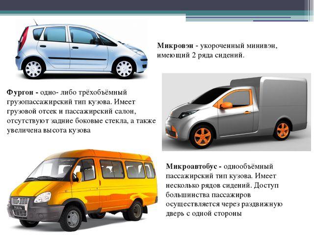 Микровэн - укороченный минивэн, имеющий 2 ряда сидений. Фургон - одно- либо т...