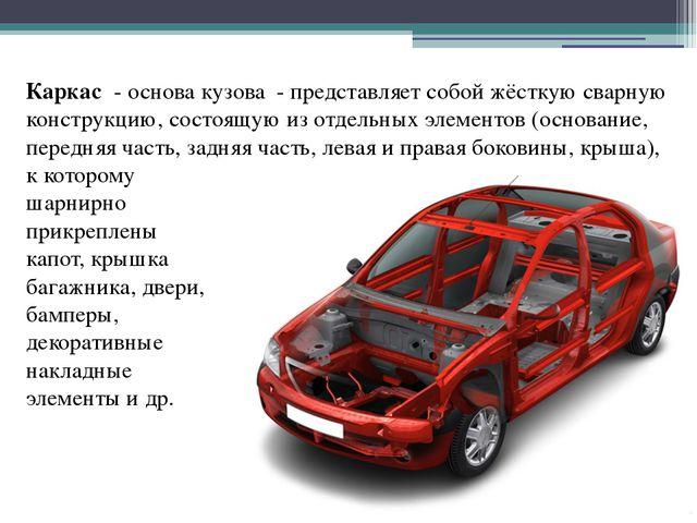 Каркас - основа кузова - представляет собой жёсткую сварную конструкцию, сост...