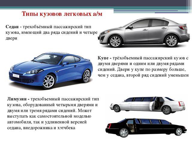 Седан - трехобъёмный пассажирский тип кузова, имеющий два ряда сидений и четы...