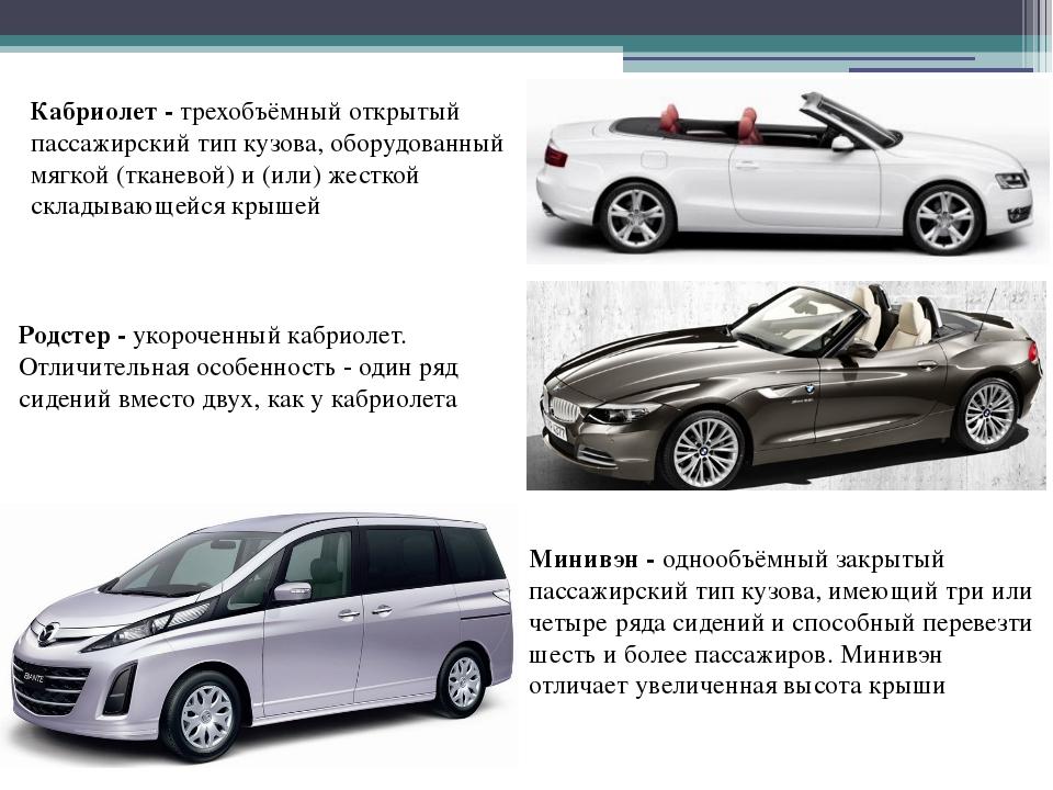 Кабриолет - трехобъёмный открытый пассажирский тип кузова, оборудованный мягк...