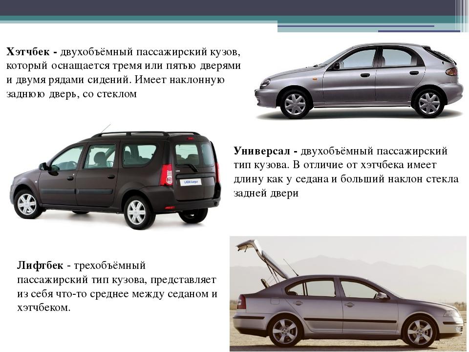 Хэтчбек - двухобъёмный пассажирский кузов, который оснащается тремя или пятью...