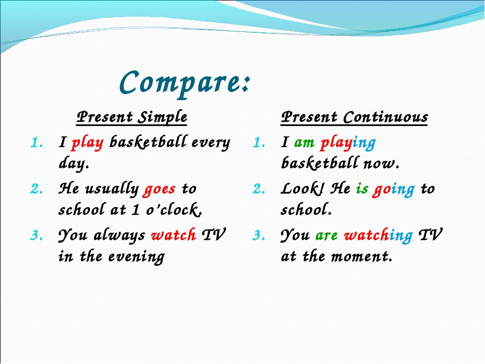 Compare: Present Simple I play basketball every day. He usually goes to scho...