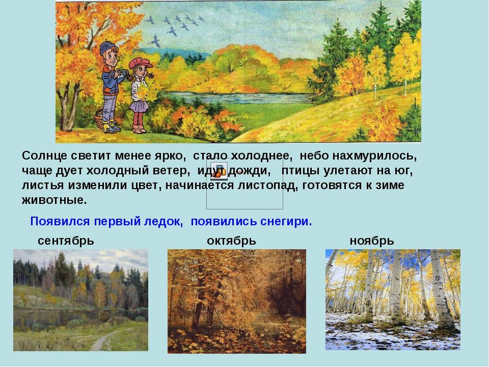 сентябрь октябрь Солнце светит менее ярко, стало холоднее, небо нахмурилось,...