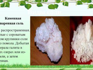 Виды соли Каменная поваренная соль Самая распространенная. Это белые с серов