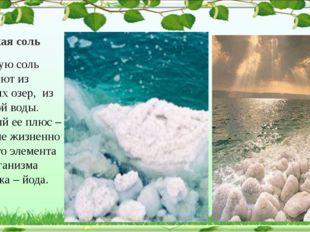 Морская соль Морскую соль получают из соляных озер, из морской воды. Главный