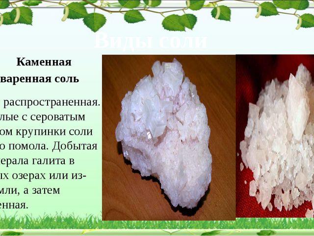 Виды соли Каменная поваренная соль Самая распространенная. Это белые с серов...