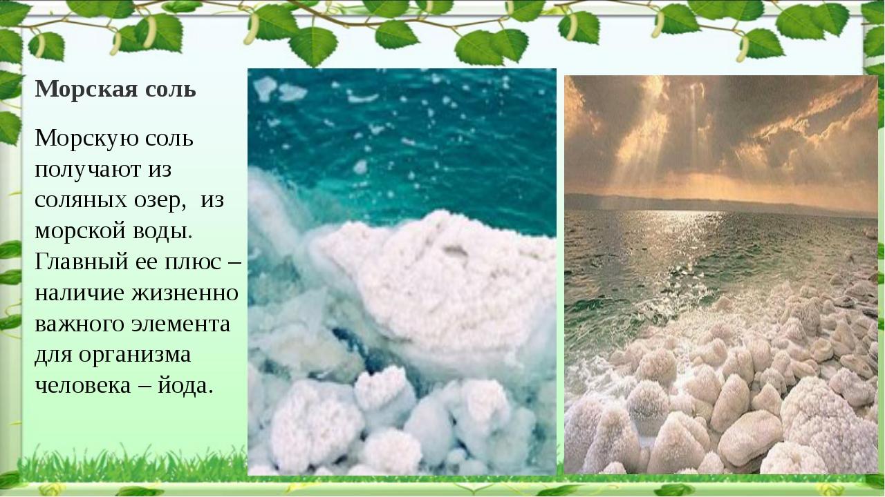Морская соль Морскую соль получают из соляных озер, из морской воды. Главный...