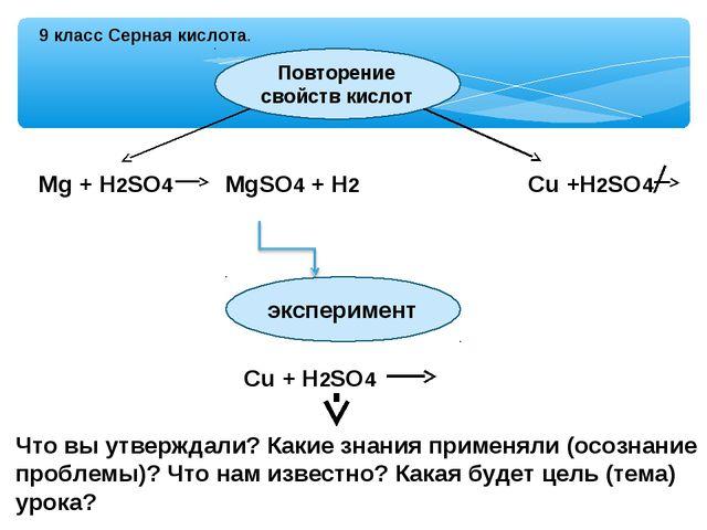 9 класс Серная кислота. Повторение свойств кислот Mg + H2SO4 MgSO4 + H2 Cu +H...