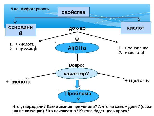 9 кл. Амфотерность. свойства оснований кислот док-во + кислота + щелочь = + о...
