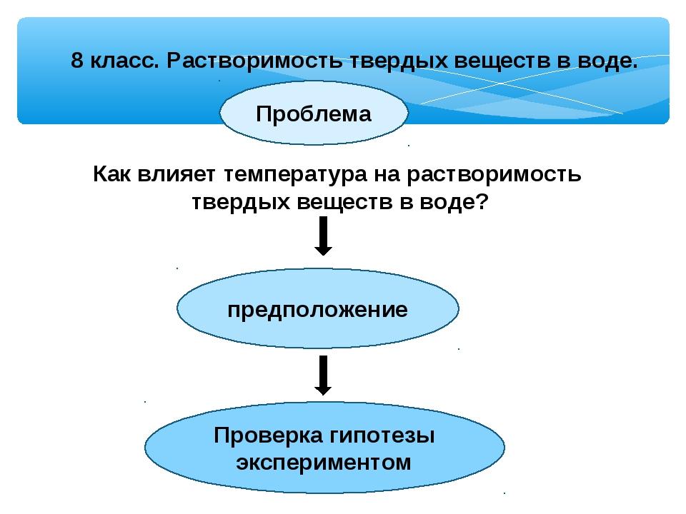 8 класс. Растворимость твердых веществ в воде. Проблема Как влияет температур...