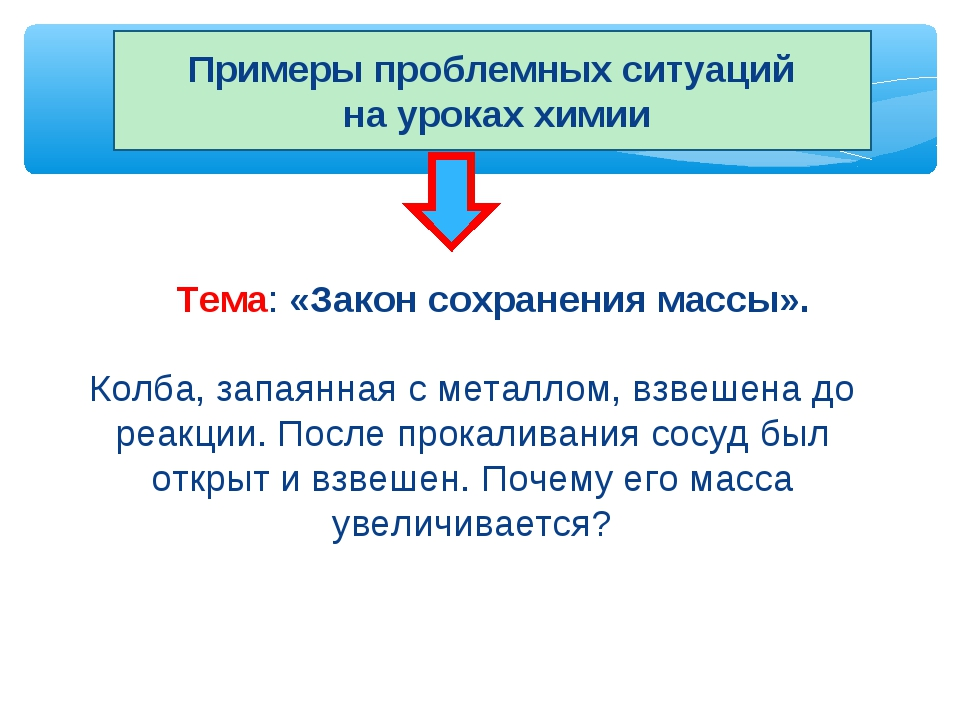 Примеры проблемных ситуаций на уроках химии Тема: «Закон сохранения массы». К...