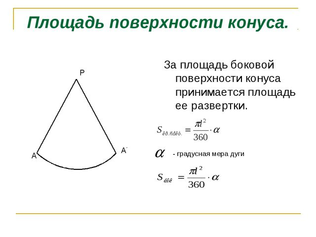Площадь поверхности конуса. За площадь боковой поверхности конуса принимается...