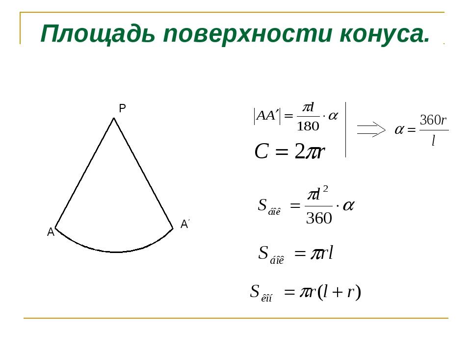Площадь поверхности конуса. P A A'