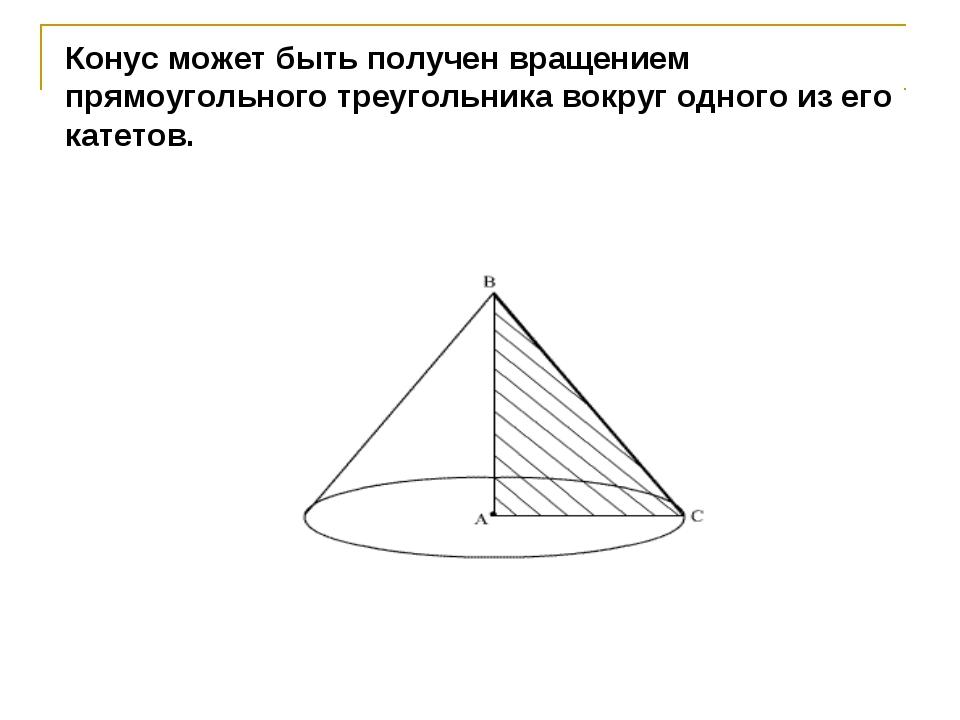 Конус может быть получен вращением прямоугольного треугольника вокруг одного...