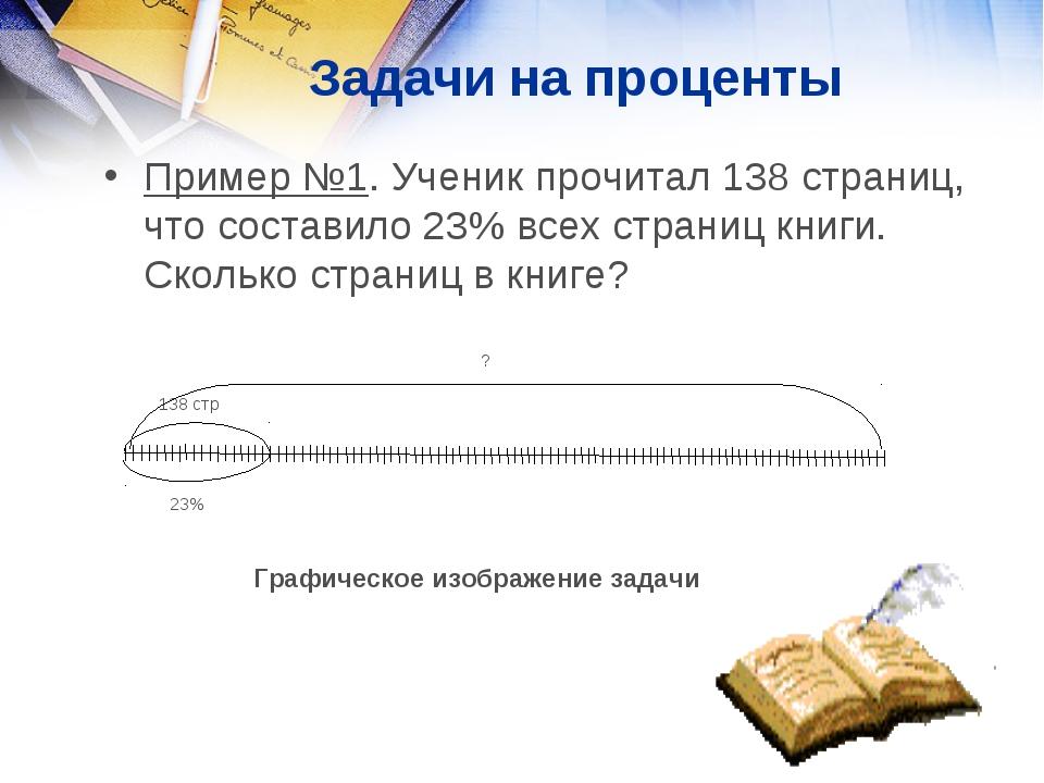 Задачи на проценты Пример №1. Ученик прочитал 138 страниц, что составило 23%...