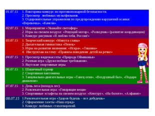 01.07.15 1. Викторина-конкурс по противопожарной безопасности. 2. Просмотр лю