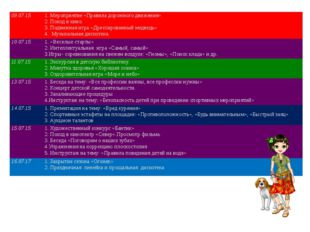 09.07.15 1. Мероприятие «Правила дорожного движения» 2. Поход в кино. 3. Подв