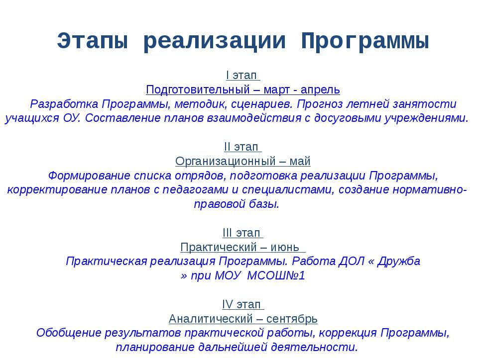 Этапы реализации Программы I этап Подготовительный – март - апрель Разработка...