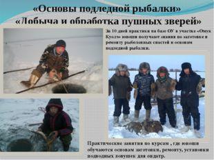 «Основы подледной рыбалки» «Добыча и обработка пушных зверей» За 10 дней прак