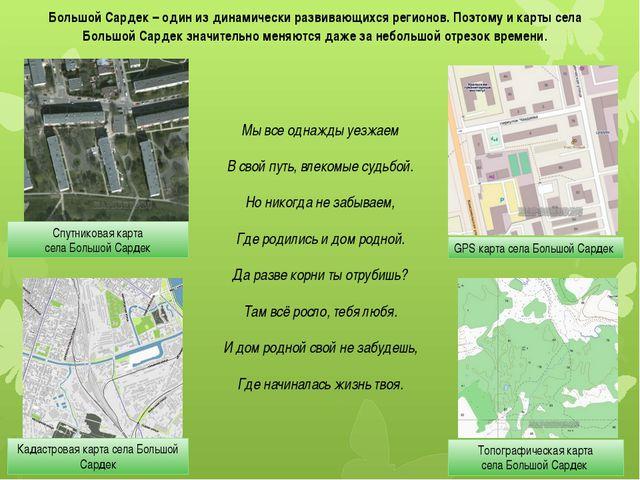 Спутниковая карта села Большой Сардек GPS карта села Большой Сардек Кадастров...