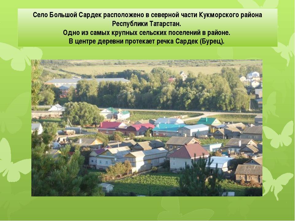 Село Большой Сардек расположено в северной части Кукморского района Республи...