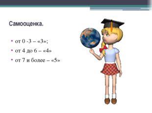 Самооценка. от 0 -3 – «3»; от 4 до 6 – «4» от 7 и более – «5»