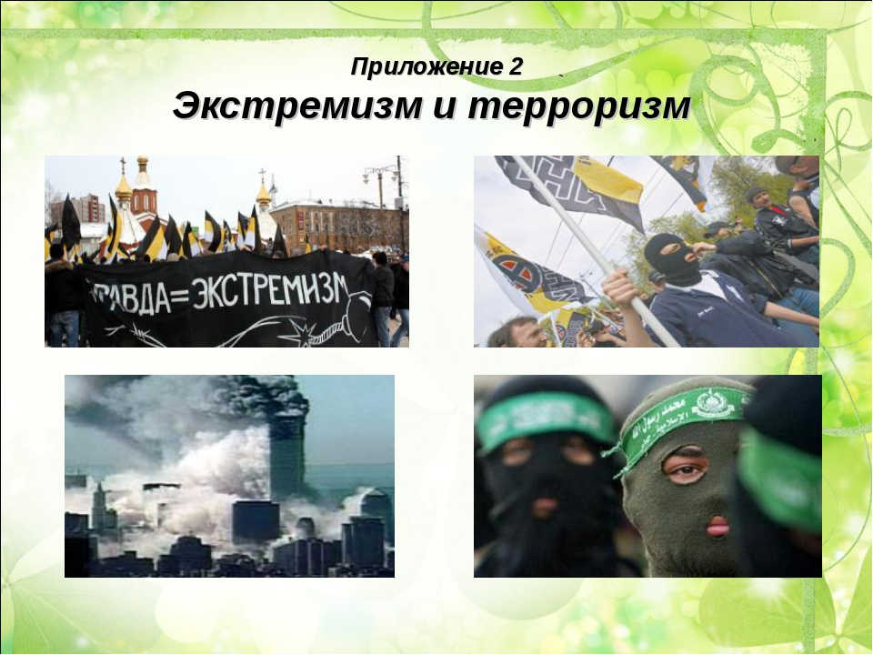 Приложение 2 Экстремизм и терроризм