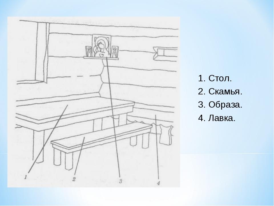 1. Стол. 2. Скамья. 3. Образа. 4. Лавка.