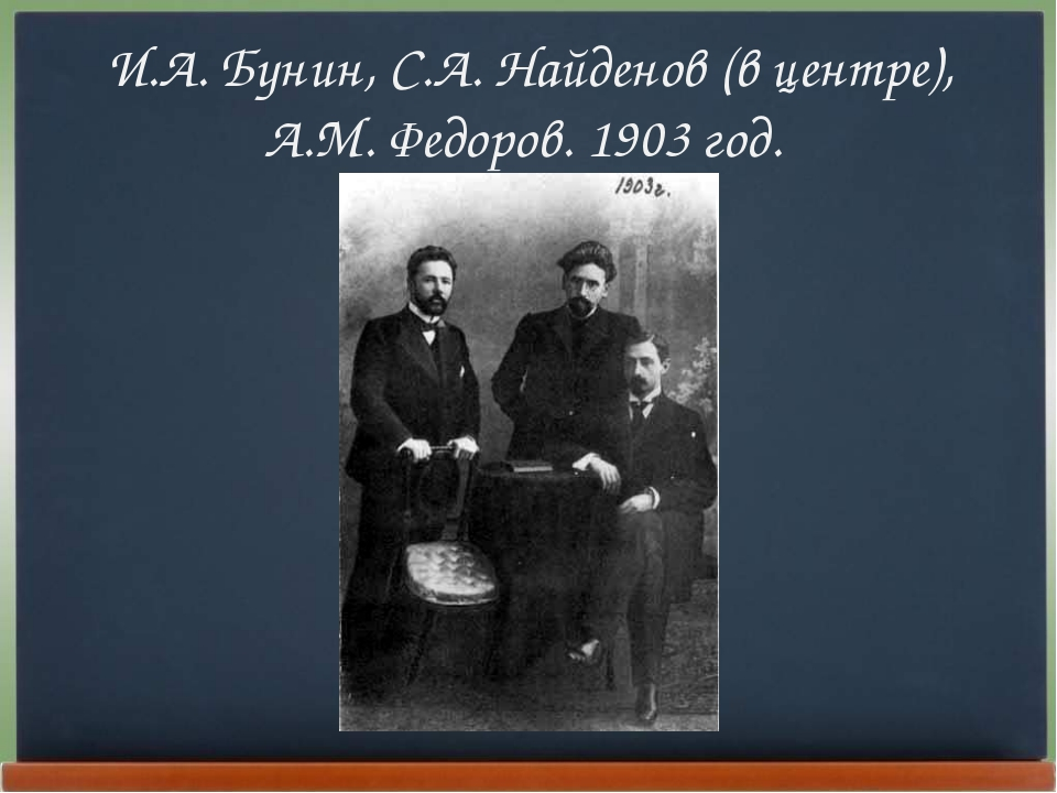 И.А. Бунин, С.А. Найденов (в центре), А.М. Федоров. 1903 год.