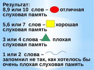 Результат: 8,9 или 10 слов – отличная слуховая память 5,6 или 7 слов – хороша