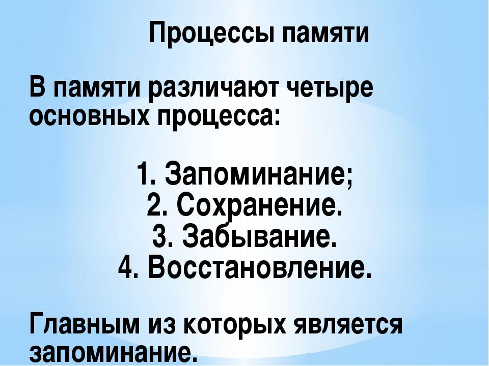 В памяти различают четыре основных процесса: 1. Запоминание; 2. Сохранение....