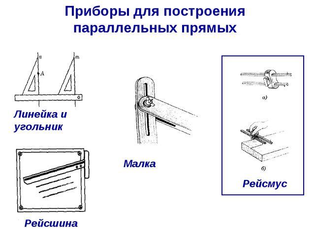 Приборы для построения параллельных прямых Линейка и угольник Рейсшина Малка...