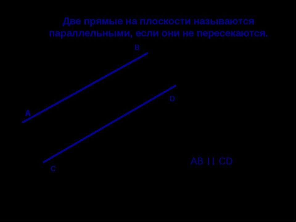 Две прямые на плоскости называются параллельными, если они не пересекаются. А...