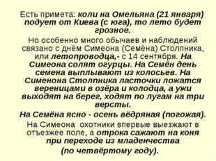Есть примета: коли на Омельяна (21 января) подует от Киева (с юга), то лето